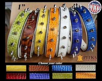 Designer Dog Collar, Spiked Dog Collar, Croco Leather Spiked Dog Collars, Leather Dog collars for Large Dogs, Large Dog Collars with spikes