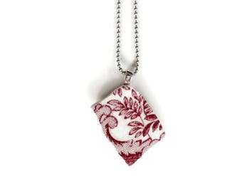 necklace, red necklace, handmade jewelry, ceramic pendant, broken china jewelry, dainty necklace, girlfriend gift, red jewelry