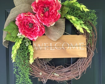 Wreath -Summer  Wreath -Pink Wreath -Wreaths -Welcome Wreath - Peony Wreath - Housewarming Gift -Home Decor