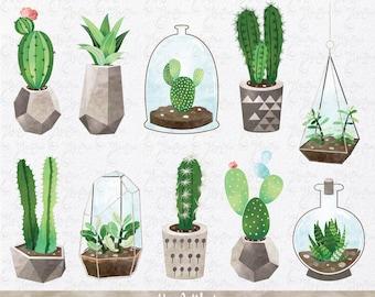 "Watercolor Cactus clip art  ""CACTUS CLIPART"", Succulent Clipart, Cacti, Cactuses pots, Tribal, Cactus, Summer. 11 Png files 300 dpi. Ct007"