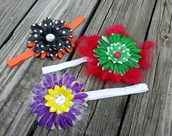 Trio of handmade flower headbands polka dot feather maribou fabric rhinestone button centers