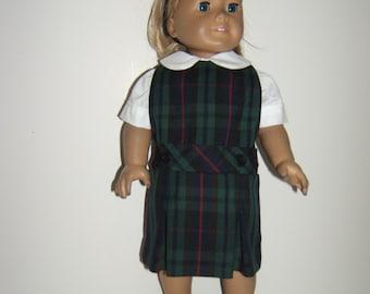 18 inch doll School Uniform Jumper plaid 98 or Evergreen Classic Navy LE