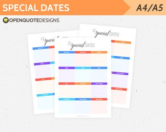 Filofax A5 Filofax Printable Filofax Inserts, Yearly Planner, Special Dates, Birthday Anniversary Planner, Kikki K Websters Pages