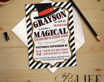 The Great Magician Birthday Invitation Printable DIY No. I254