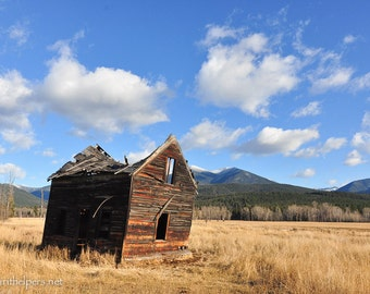 Grave Creek School House, Montana Barn, Old Building, Once Upon a Time, Photograph or Greeting card