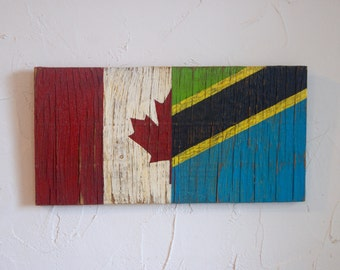 Half Canada Half Tanzania Flag Wood Sign - Canada sign - Tanzania sign - outdoor flag - Canadian flag - Tanzanian flag - Canadian sign