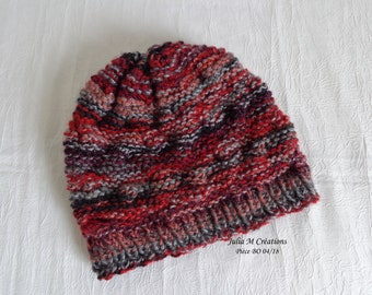 Red/gray/black wool hand knitted wool hat for women and teens -