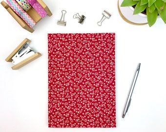 Red notebook A5, lined paper journal with floral fabric cover, stationery, workbook