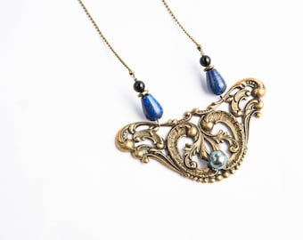 Victorian floral brass necklace, gemstone and Tahitian Pearl