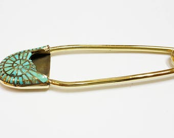LARGE SAFETY PIN; Safety Pin Brooch; Safety Pin Jewelry; Boutonniere Pin; Handmade Vintage Solid Brass Turquoise; Keyring; Blanket Pin