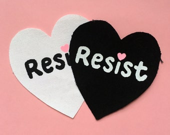 Resist Patch (Solidarity, Resistance, Stay Woke, silkscreen, canvas, sew on patch)