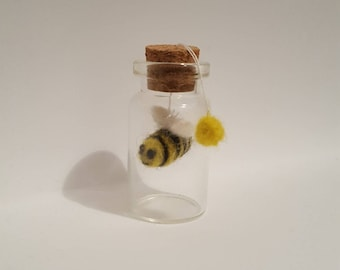 Felted Bee, Miniature glass bottle with Bee, Cute Bee in glass bottle, Bee lover gift, Bumble Bee, OOAK Bee gift
