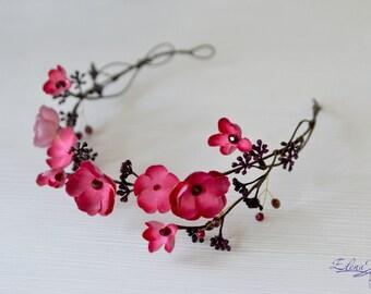 Red pink flower crown Burgundy berries crystals floral crown Elven floral wreath Rustic bridal headpiece Red floral hair vine