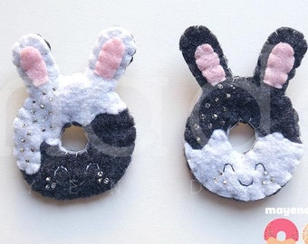 BFF pin set, bunny donut brooches with sugar sprinkles, felt food pin