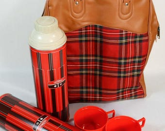 Vintage Plaid Thermos Lunch Picnic Bag, 2 Insulated Thermos Bottles Included, Tailgate Camping Glamping Picnic 3 Piece Set