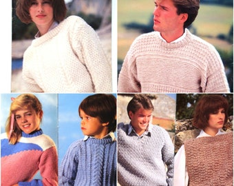 Family Knitting Patterns Booklet Patons Beehive No 471 Sweaters Pullovers for Men Women Children Jumper Cardigan Vest Aran Teen Casual Knit