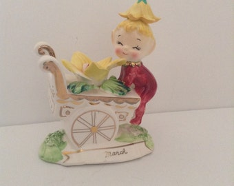 Vintage Flower Cart Pixie - March - by Norcrest