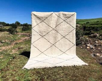 Beni ourain rug, Moroccan berber rug, vintage moroccan rug, 7x10 Ft 210x305 Cm, Wool berber carpet, moroccan style rugs, Beni ouarain rug