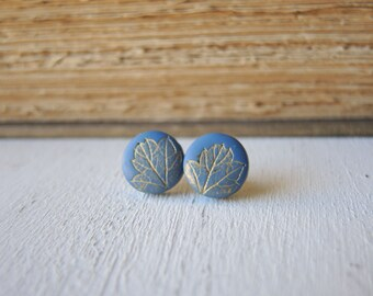 Blue and Gold Earrings, Gold Leaf Earrings, Leaf Stud Earrings, Fall Fashion Jewelry, Wholesale Jewelry, Cute Earrings, Gift for Her