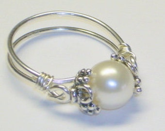Pearl Ring, Sterling Silver, Sweet Sixteen Gift, Purity Ring