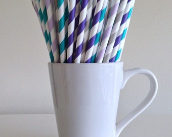 Teal, Purple, Gray Striped Paper Straws Frozen Party Supplies Party Decor Bar Cart Cake Pop Sticks Mason Jar Straws Graduation