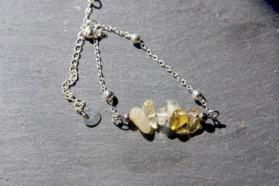 Citrine Bar Bracelet, 925 Sterling Silver, Citrine jewelry, Minimalist, Gift for Her, Prospérity Stone, Birthstone, Zodiac, Beaded Bracelet