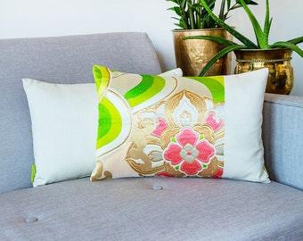 Metallic Gold Pillow, Cream Silk Pillow, Japanese Floral Pillow, Metallic Accent Pillow, Vintage Kimono Cushion, Boho Pillow, Asian Decor