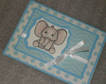Hand made Baby Boy Elephant Baby Shower Card Adoption Card Expecting Card Baptism Card