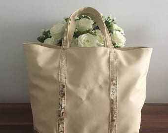 Beige sequins bag / Beige tote shopper / Leather look tote bag