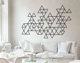 Geometric Wall Decal - Triangles - Wall Art - Minimalist Art - Modern Decor - Mid Century - Wall Decals - Wall Stickers - SKU:trioutline