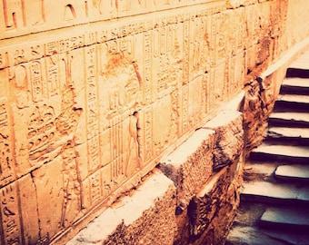 Egyptian artwork, fine art photo print, travel photography, ancient Egypt, archaeology, exotic, neutral decor - Edfu Temple