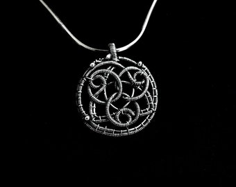 Silver Celtic Pendant - Wire Wrapped Triquetra Knot Pendant - Viking Jewelry - Plain Silver Collection