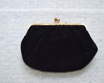 Vintage Black Velvet Clutch Evening Bag---From the 1950-60's