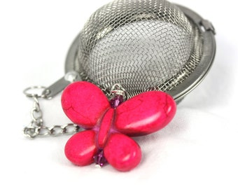 Pink Butterfly Tea Infuser, 1 1/2inch tea infuser with butterfly charm, crystals