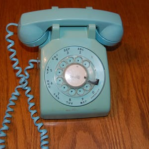 Vintage Rotary Dial Telephone, Blue Rotary Phone, Working Retro Phone, Retro  Home Decor