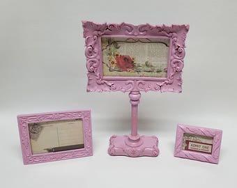 Set 3 Frames- Shabby Chic Ornate Pink Frames
