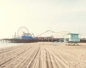 Santa Monica Beach Print, Landscape Photography, Beach Tower, Santa Monica Pier, Summer, Travel, California Print, 8x10