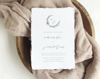 Calligraphy Wedding Invitations // Semi-Custom Invitation Suite // Handmade Paper // Wedding Invitation Suite // CAMBRIDGE