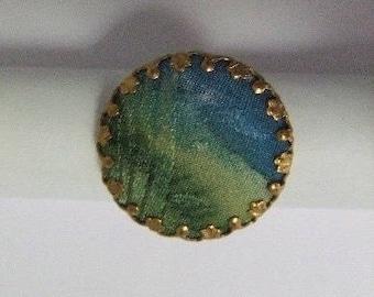 Natural silk blue/green cabochon ring