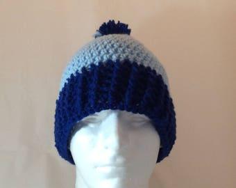 Double Blue Warm Winter Pom Hat