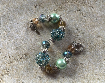 Pale Green Faux Pearl Bracelet, Bracelet, Beaded Bracelet, Beadwork Bracelet, Gift For Her
