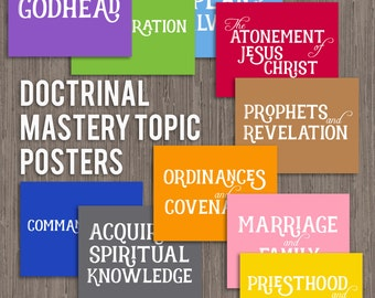LDS Seminary Doctrinal Mastery Topic Posters-instant digital download-8.5x11