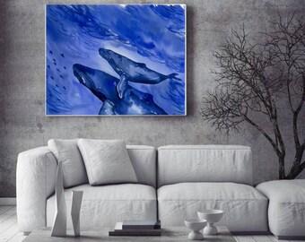 Whale watercolor Big canvas print  Whale wall art print Blue ocean painting