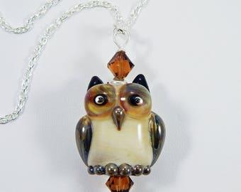 Owl Necklace. Lampwork Owl. Lampwork Owl Bead. Lampwork Bead Necklace. Lampwork Focal Bead.