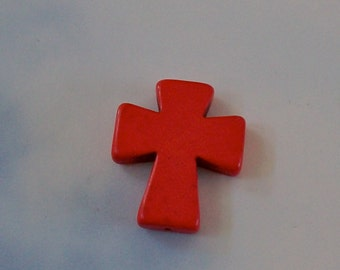 CROSS Medium Red Howlite Stone Pendant, Keychain, Purse, Backpack, Jewelry, Craft Supply