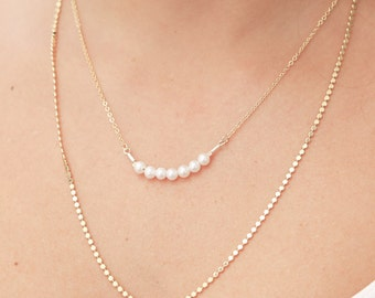 Gold Pearl Necklace Tiny Pearl Bar Necklace layered necklace Delicate Bead gold filled or silver necklace blush wedding jewelry.