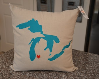 Great Lakes Michigan Pillow - 18 x 18 cover only - Turquoise - Michigan Decor  - Michigan Pillow - Custom Pillows - Home State Pillow