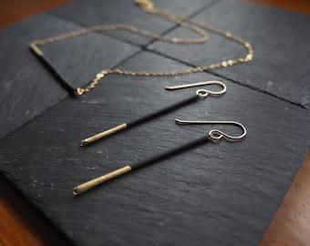 Gilded Black Bar Drop Earrings