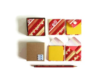 Happy Holidays Mini Stationery Set - Cute Red and Yellow Cards, Blank Note Cards, Gift Tags, Small Square Envelopes, Greetings, Thank You