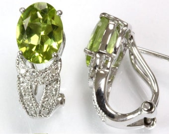 2.88 ct tw Natural Lime Green Peridot & Diamond Gold Classic French Clip Earrings